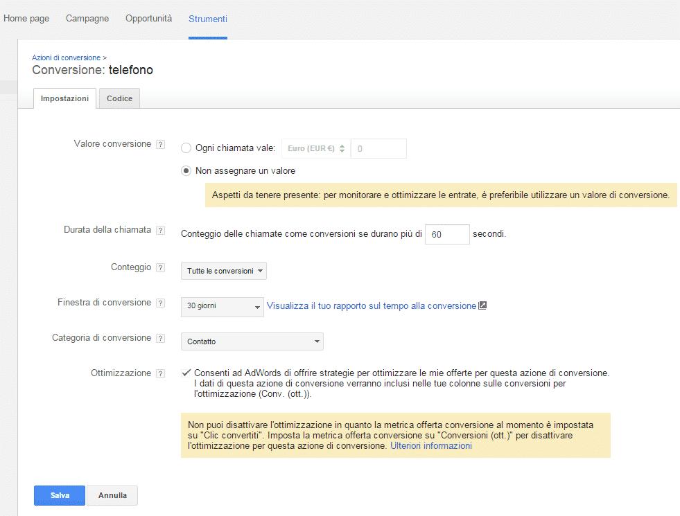 Conversioni telefono monitoraggio Google AdWords