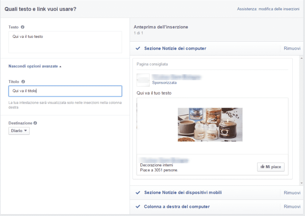 inserzione mi piace facebook advertising