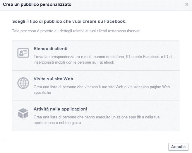 pubblico facebook advertising