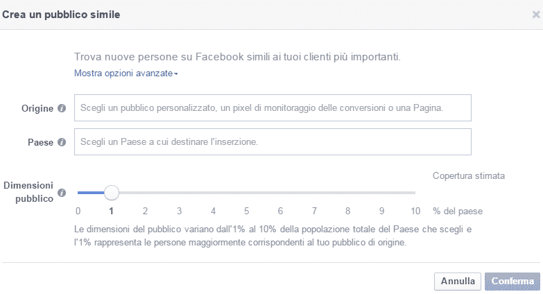 pubblico simile look a like facebook advertising